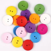 50pcs Round Mixed Charms Sew-on Wooden Buttons Findings