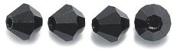 Preciosa 4-Mm Czech Crystal Diamond/Bicone Bead, Jet, 144-Piece