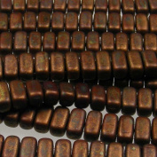 Czechmate 2mm X 6mm Brick Glass Czech Two Hole Bead - Umber/Copper Picasso