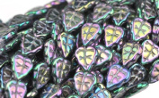 50 PURPLE IRIS CZECH GLASS LEAF BEADS 10MM