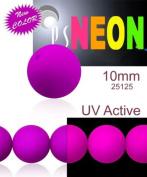 24 pcs Czech Glass Round Pressed Beads ESTRELA NEON (UV Active) Purple 10 mm