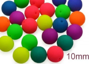 24 pcs Czech Glass Round Pressed Beads ESTRELA NEON (UV Active) MIX 10 mm