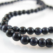 Sparkle Blue Goldstone Beads - Smooth Round 4mm