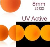 30 pcs Czech Glass Round Pressed Beads ESTRELA NEON (UV Active) Orange 8 mm