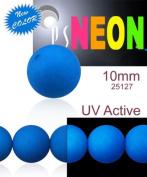 24 pcs Czech Glass Round Pressed Beads ESTRELA NEON (UV Active) Blue 10 mm
