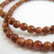 Sparkle Brown Goldstone Beads - Smooth Round 4mm