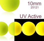 24 pcs Czech Glass Round Pressed Beads ESTRELA NEON (UV Active) Yellow 10 mm