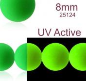 30 pcs Czech Glass Round Pressed Beads ESTRELA NEON (UV Active) Green 8 mm