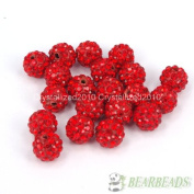 10mm Top Quality Czech Crystal Rhinestones Pave Clay Round Disco Ball Spacer Beads, Light Siam