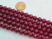Mountain Jade (Dyed) Dark Red 8mm Faceted Round 15.5'' 48pcs Per Strand