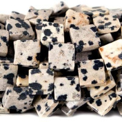 11mm Dalmation Jasper Corner Drilled Square Beads, 14 inch