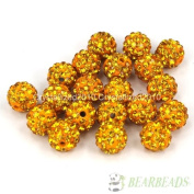 10mm Top Quality Czech Crystal Rhinestones Pave Clay Round Disco Ball Spacer Beads, Topaz