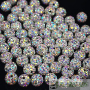 10mm Top Quality Czech Crystal Rhinestones Pave Clay Round Disco Ball Spacer Beads,Crystal AB