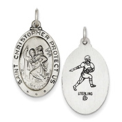 Sterling Silver St.Christopher Reversible Football Medal. Metal Wt- 2.5g