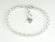 Sterling Silver Adjustable Rolo Charm Bracelet with Heart 18cm