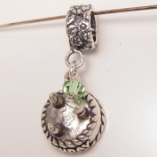 Birthday Cake August, Peridot. Crystal, Birthstone Sterling Silver Dangle Charm
