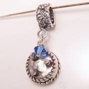 Birthday Cake September, Sapphire. Crystal, Birthstone Sterling Silver Dangle Charm