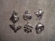 Metal Halloween Charms - Pumpkin, Bat, Cat, Witch, Spider Web, Skull