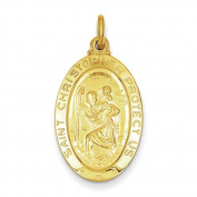 Sterling Silver 24k Gold-Plated Saint Christopher Medal. Metal Wt- 2.68g