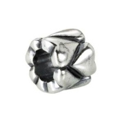 Kera Heart Accented Bead in Sterling Silver - Fits Most Pandora Bracelets