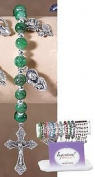 Dk Grn Marble Bead Bracelet 4p