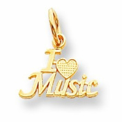 Genuine 10K Yellow Gold Talking - I Love Music Charm 0.5 Grammes Of Gold