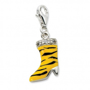 Sterling Silver Click-on CZ Enamel Tiger High Heel Boot Charm - Measures 27x7mm - JewelryWeb