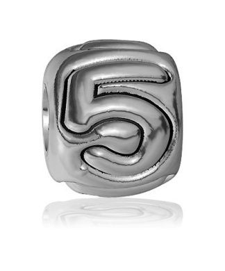 5 - Bead, Single Digit Number 5 Charm Bracelet Bead, Embossed, Complete Alphabet and Numbers Available, Solid Sterling Silver
