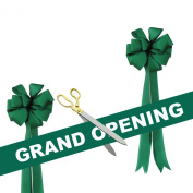 Grand Opening Kit - 50cm Gold Plated Handles Ceremonial Ribbon Cutting Scissors with 5 yards of 15cm Green Grand Opening Ribbon White Letters and 2 Green Bows
