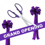 Grand Opening Kit - 90cm Purple/Silver Ceremonial Ribbon Cutting Scissors with 5 Yards of 15cm Purple Grand Opening Ribbon and 2 Purple Bows