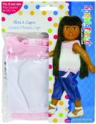 Fibre Craft Springfield Collection Shirt/Capris for Doll, Pink/White Denim