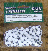 Paste on Movable Eyes Black 7 Mm 160 Pieces Arts & Crafts