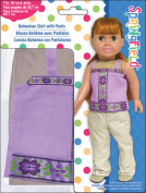 Fibre Craft Springfield Collection Bohemian Shirt/Pants/Lavender Shirt/Khaki Pants for Doll