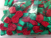 Ribbon Roses Ribbon Flowers with Green Leaves Red Colour - Value Pack 72 Pcs