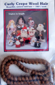 All Cooped Up CURLY CREPE 100% WOOL DOLL HAIR 30cm Braid LIGHT BROWN Colour
