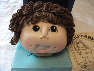#3111 Martha Nelson Thomas brown short-haired original doll baby head