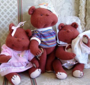 The Three Bears, Toy Pattern with Instruction CD/037/Made from Craft Velour/String Joined Legs, Clothes Included