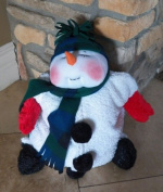 "Plush Snowman pyjama bag or pillow, ""Snoozie the Snowman"" Pattern with Instruction CD/284/Made from Plush Fabric & Dolskin/ Soft Sculpted Face"