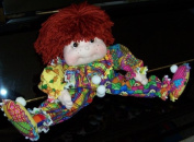 "Floppy Fabric Clown Doll- 36cm Tall ""Leslie the Mop Clown"" Pattern with Instructions on Paper /016/Made from Craft Velour"