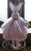 "Cloth Soft Sculpture Girl Bunny Pattern w/ Instruction CD/143/ ""Bambi Buttons"" 46cm Doll -Girl/ Made from White Craft Velour"