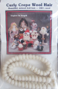All Cooped Up CURLY CREPE 100% WOOL DOLL HAIR 30cm Braid WHITE Colour Triples in Length