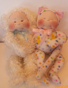 Cloth Soft Sculpture Kitty & Puppy Doll Pattern with Instruction CD/091/- Love & Rollie 38cm Dolls - Make 2 dolls from Craft Velour/Fleece