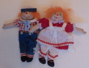 Miniature Soft Sculpture Doll Pattern with Instruction CD/040/ -Raggedy Ann & Andy 15cm - Make a Dolls from/Craft Velour /Painted Eyes
