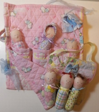 Cloth Babies with Childs Purse Pattern with Instruction CD(061/068)-Pocket Babies & Purse 13cm -Make 3 Dolls from Craft Velour/Quilted Fabric