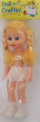 Doll Crafting TINA Vinyl DOLL 25cm Tall w MOVING Blue EYES, Combable BLONDE Braided HAIR, PAIR of PANTIES, SOCKS & SHOES