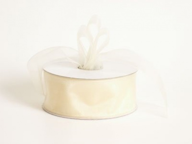 Sheer Organza Ribbon 2.5cm - 1.3cm 25 Yards Ivory, 30 more Colours