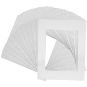 US Art Supply® Brand Premium High Quality 8x10 White Picture Mat Matte Sets. Includes a Pack of 50 White Core Bevel Cut Mattes for 5x7 Photos, Pack of 50 White Core Backers & Pack of 50 Crystal Clear Plastic Sleeves Bags. All Made in the USA By Crescent.