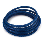 Beadnova-2 Metres of 6mm Folded Bolo Braided Leather Cords For Bracelet Neckacle Jewellery Making - Black / White / Blue / Purple / Dark Blue / Pink / Green / Red Colour