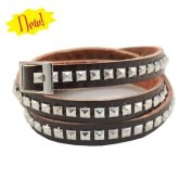 Triple Wrap Studs Brown Leather Bracelet 84040