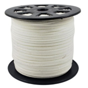 BeadsTreasure White Suede Cord Lace Leather Cord For Jewellery Making 3x1.5 mm-20 Feet.